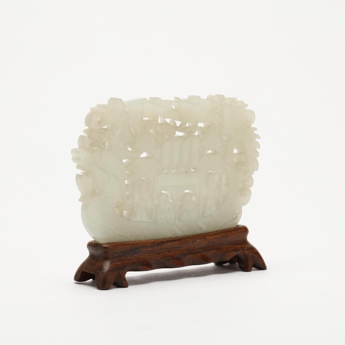 A Carved White Jade Pendant of a Boat - 2