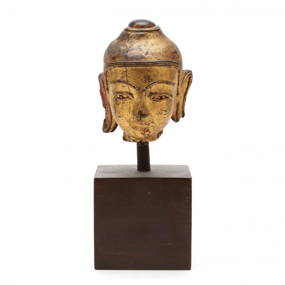 An Antique Carved & Gilt Head of the Buddha
