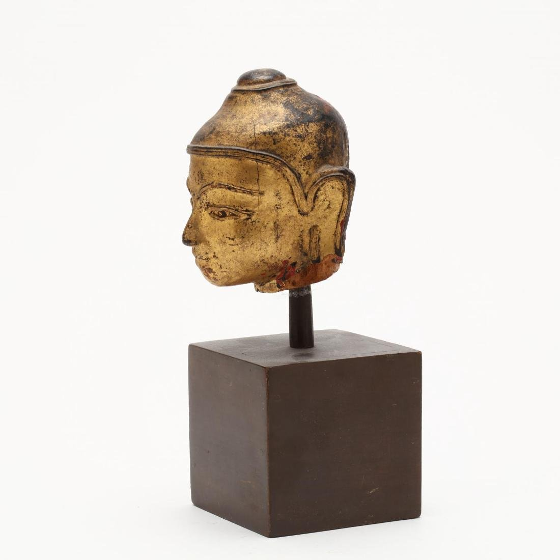 An Antique Carved & Gilt Head of the Buddha - 2