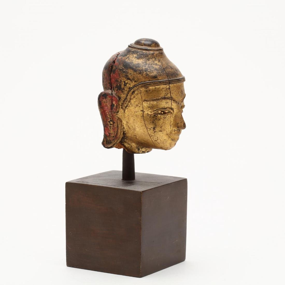 An Antique Carved & Gilt Head of the Buddha - 4