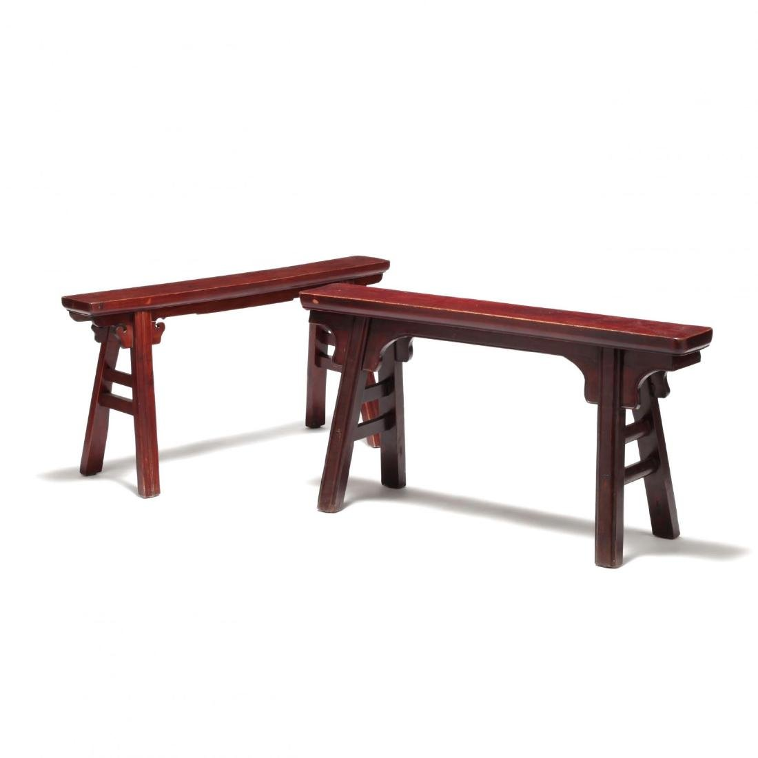 Two Chinese Wooden Benches