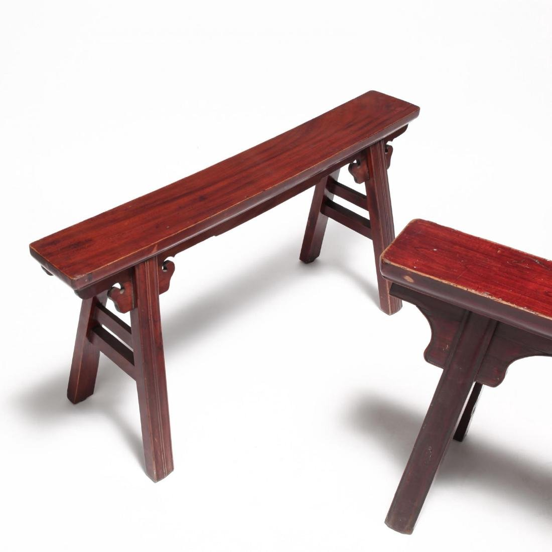 Two Chinese Wooden Benches - 2