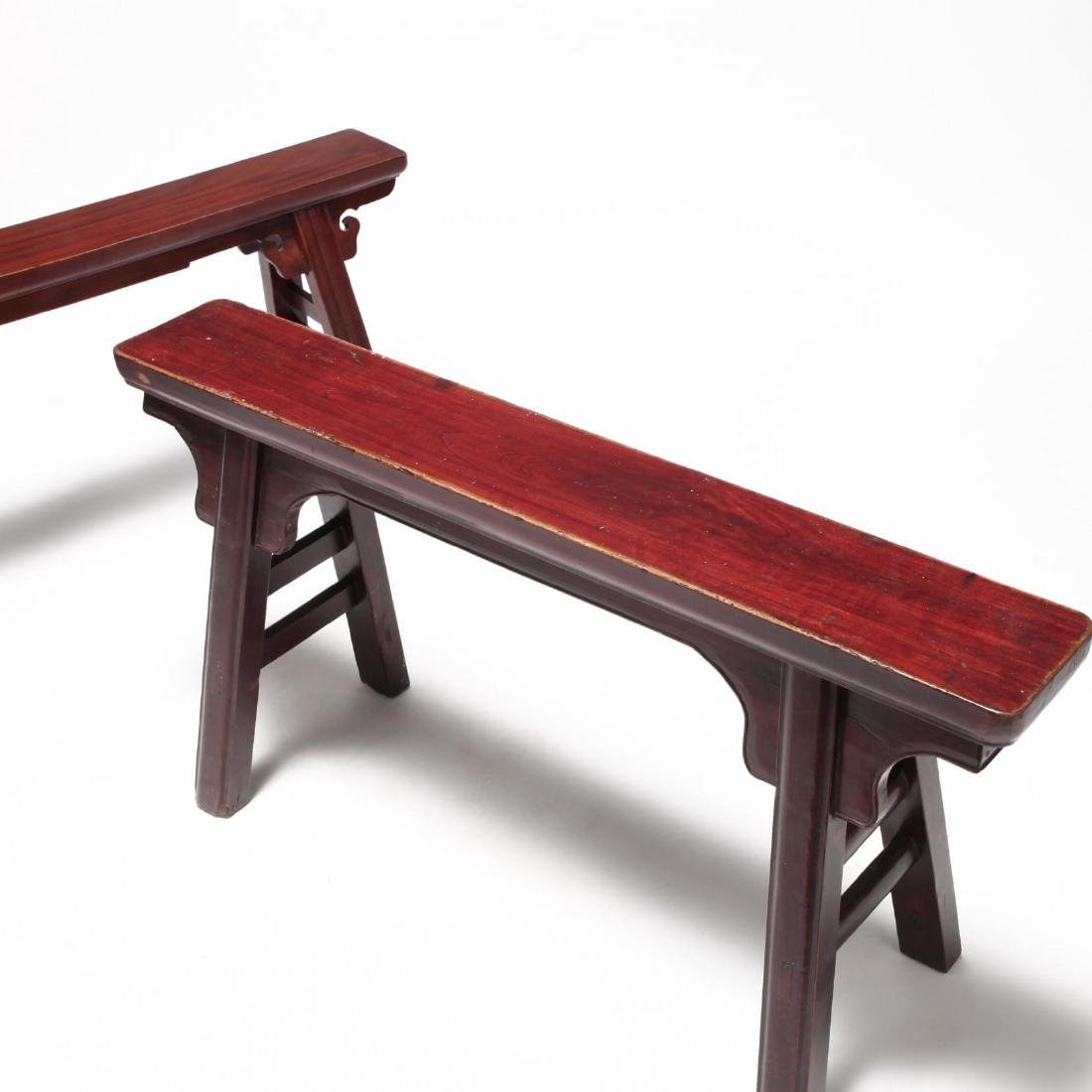 Two Chinese Wooden Benches - 3
