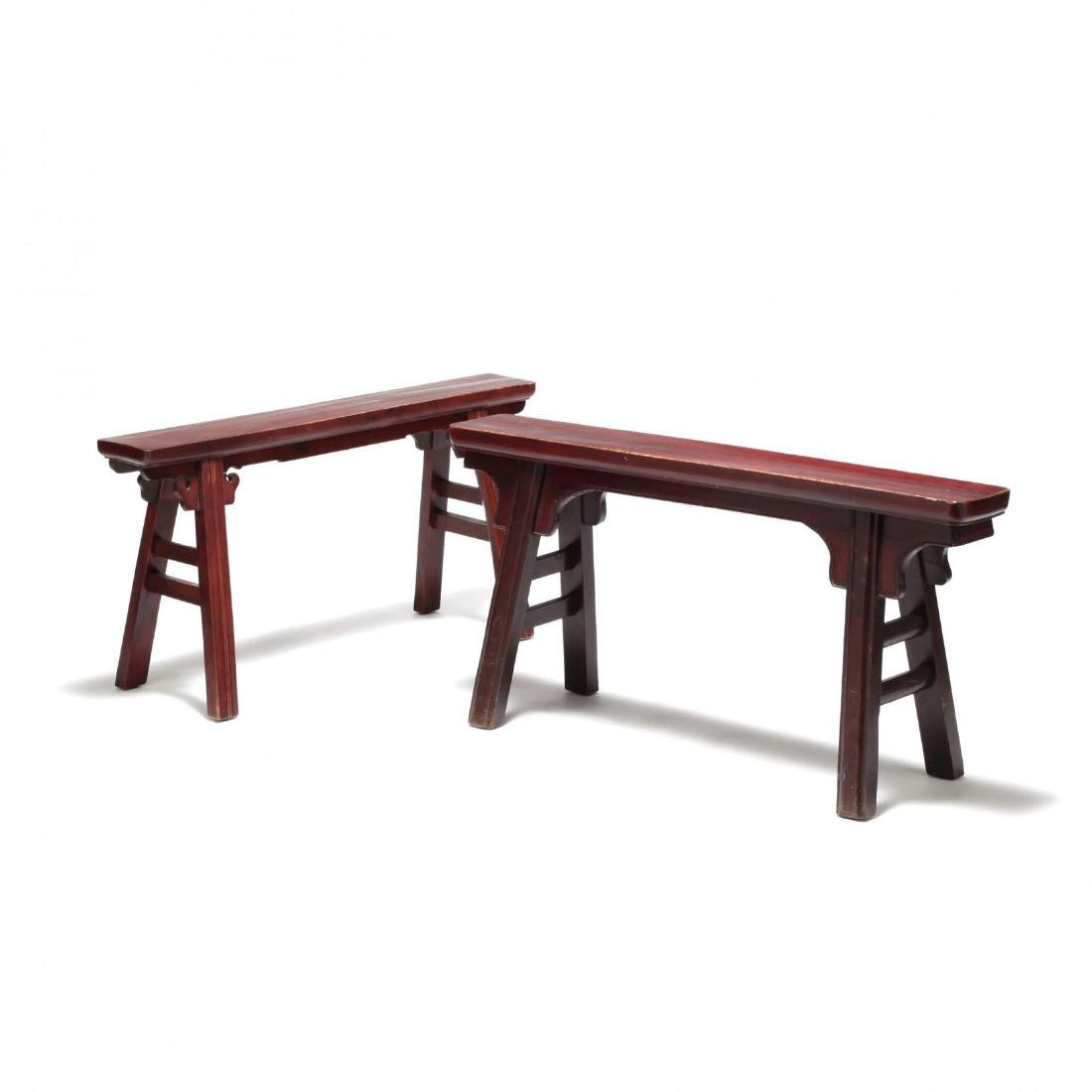 Two Chinese Wooden Benches - 4