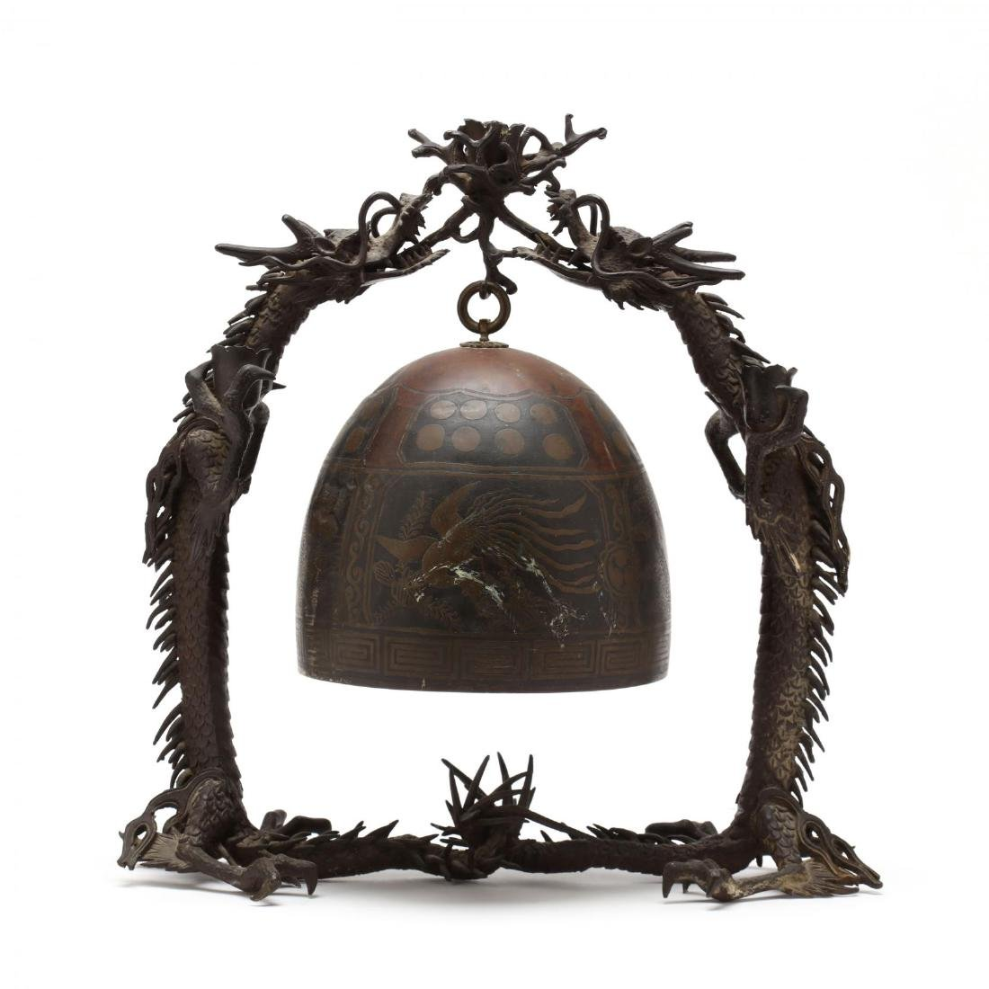 A Japanese Hanging Bronze Bell with Dragon Frame