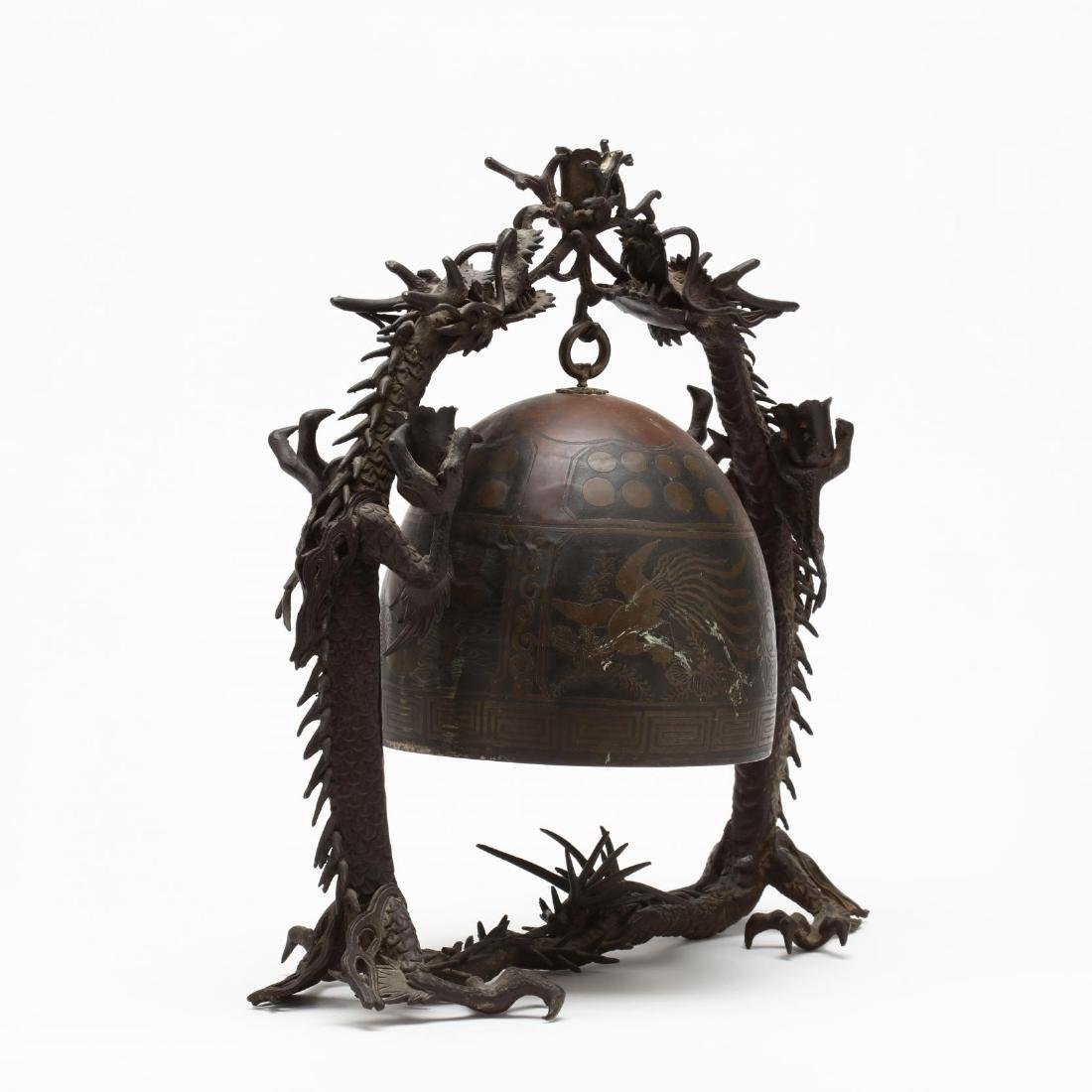 A Japanese Hanging Bronze Bell with Dragon Frame - 2