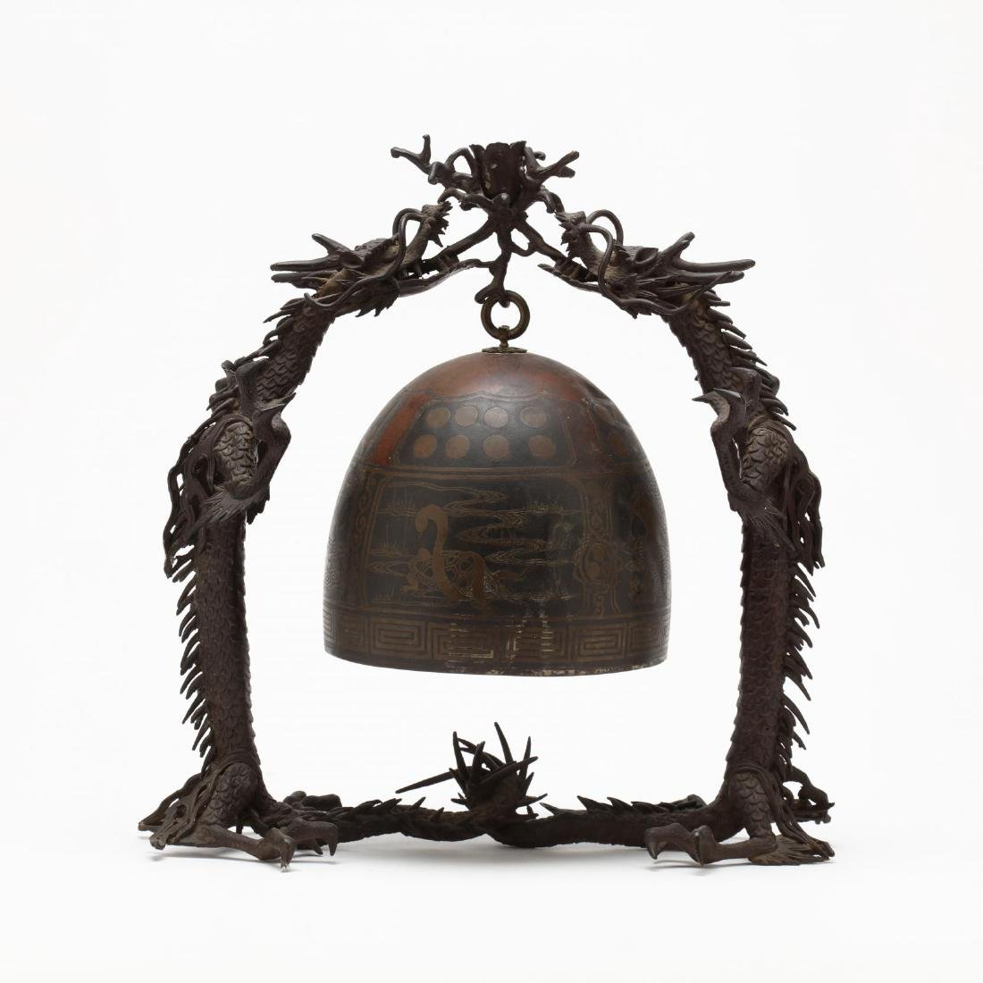 A Japanese Hanging Bronze Bell with Dragon Frame - 3