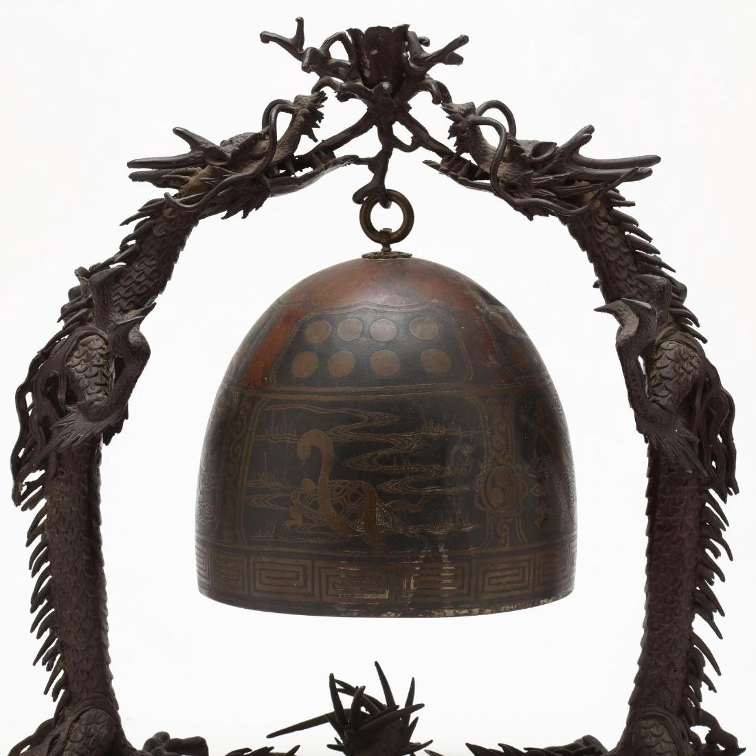 A Japanese Hanging Bronze Bell with Dragon Frame - 4