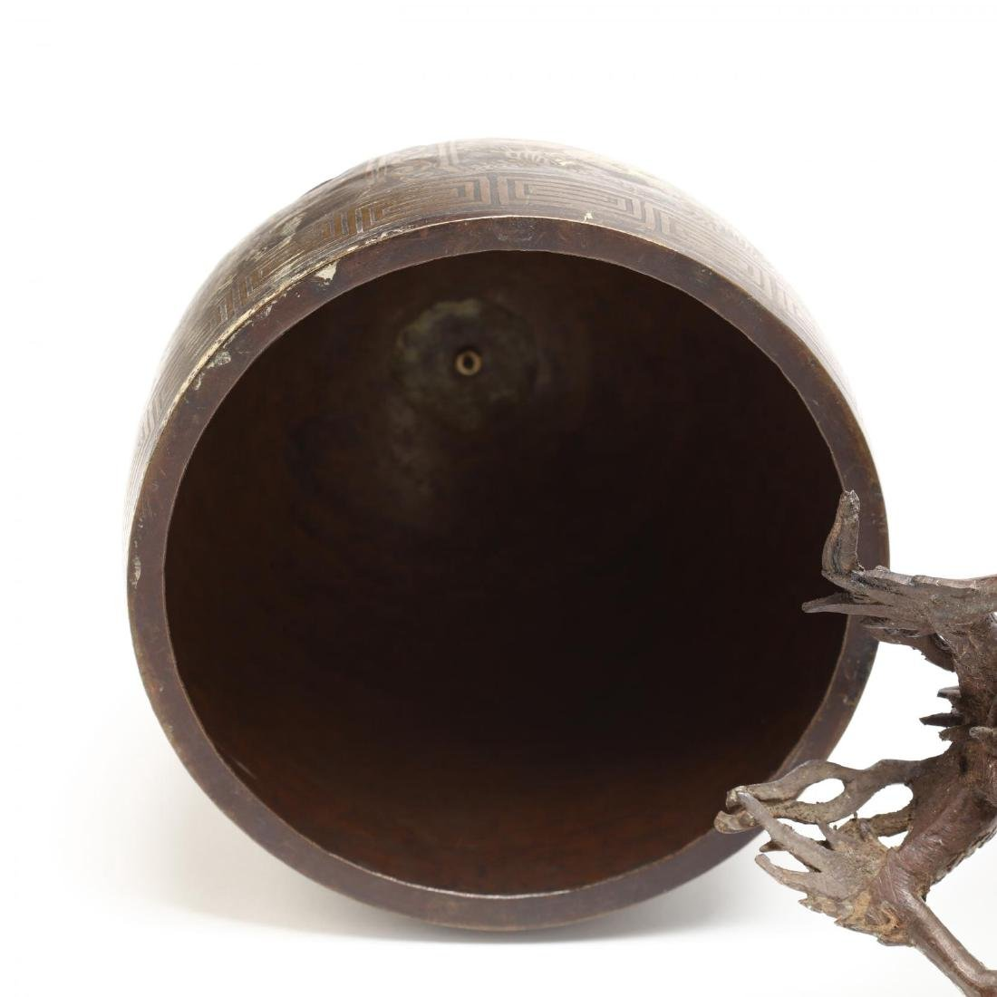 A Japanese Hanging Bronze Bell with Dragon Frame - 5
