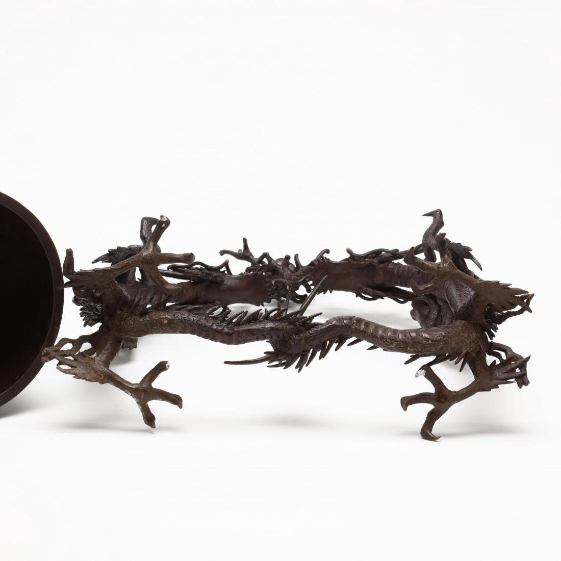 A Japanese Hanging Bronze Bell with Dragon Frame - 6