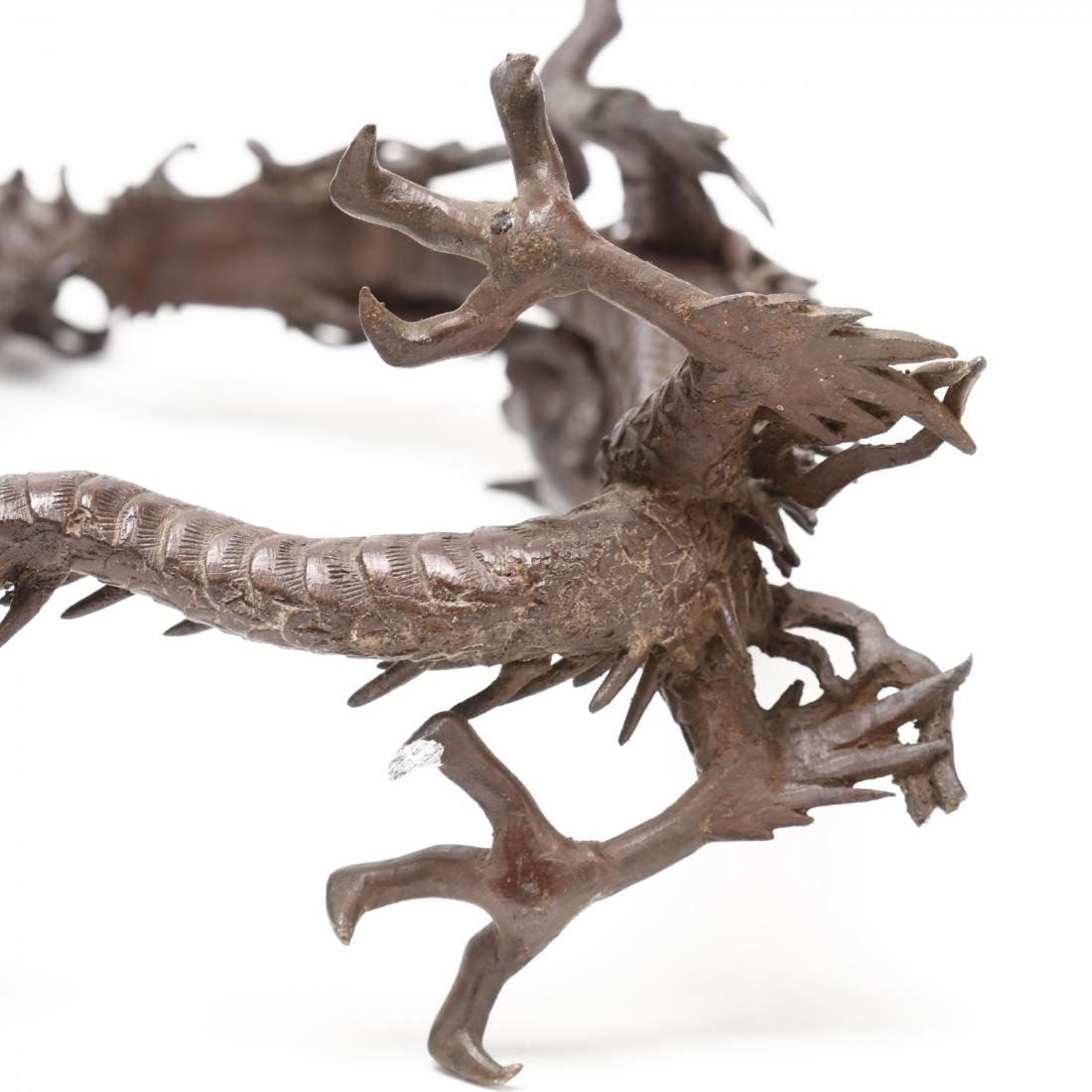 A Japanese Hanging Bronze Bell with Dragon Frame - 7