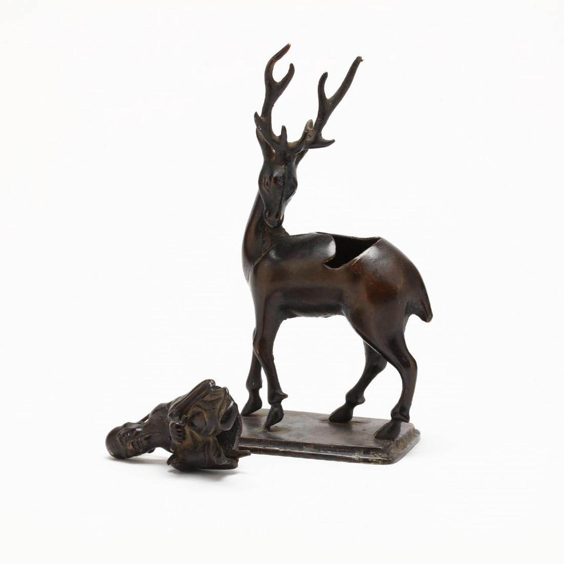 A Japanese Bronze Censer of Jurojin Riding a Deer - 3