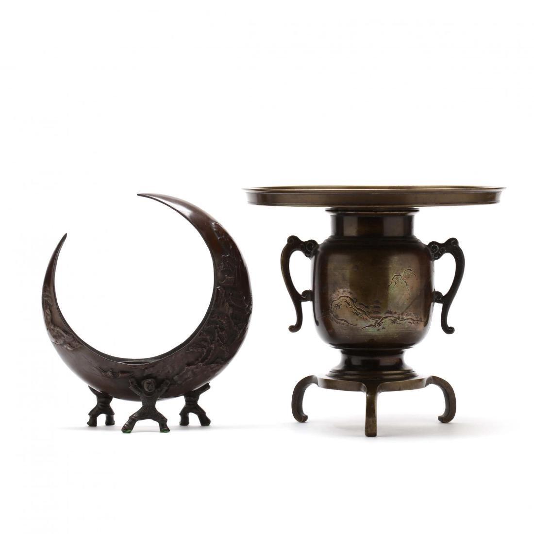 Two Japanese Bronze Ikebana Vases