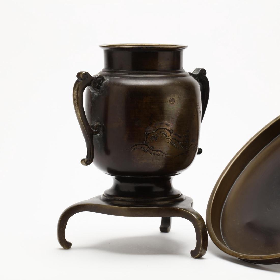 Two Japanese Bronze Ikebana Vases - 4