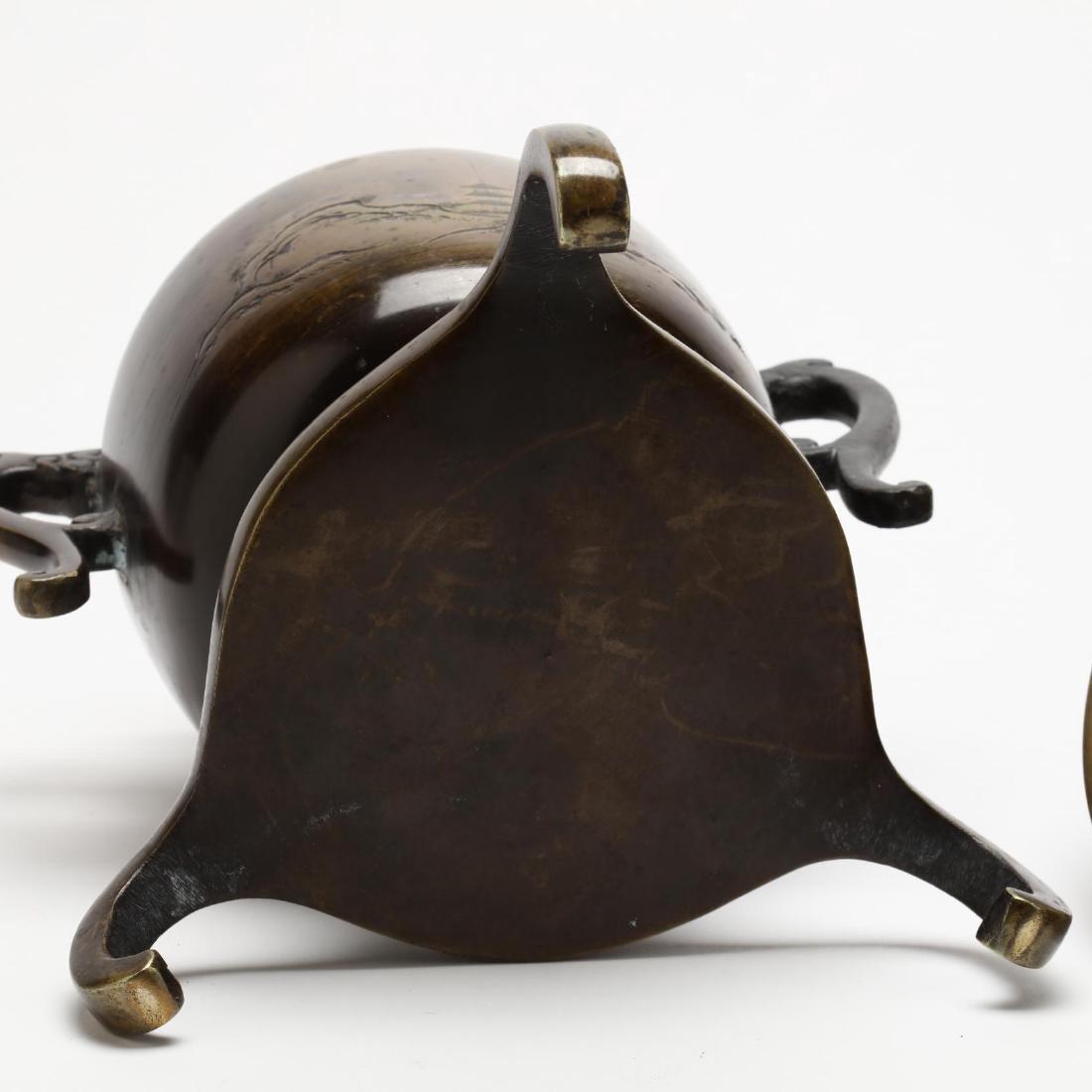 Two Japanese Bronze Ikebana Vases - 6