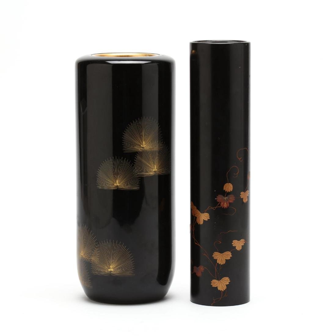 Two Japanese Black Lacquer Flower Vases