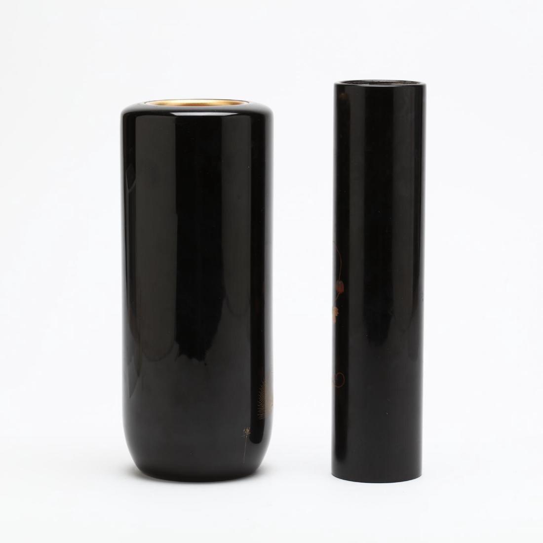 Two Japanese Black Lacquer Flower Vases - 2