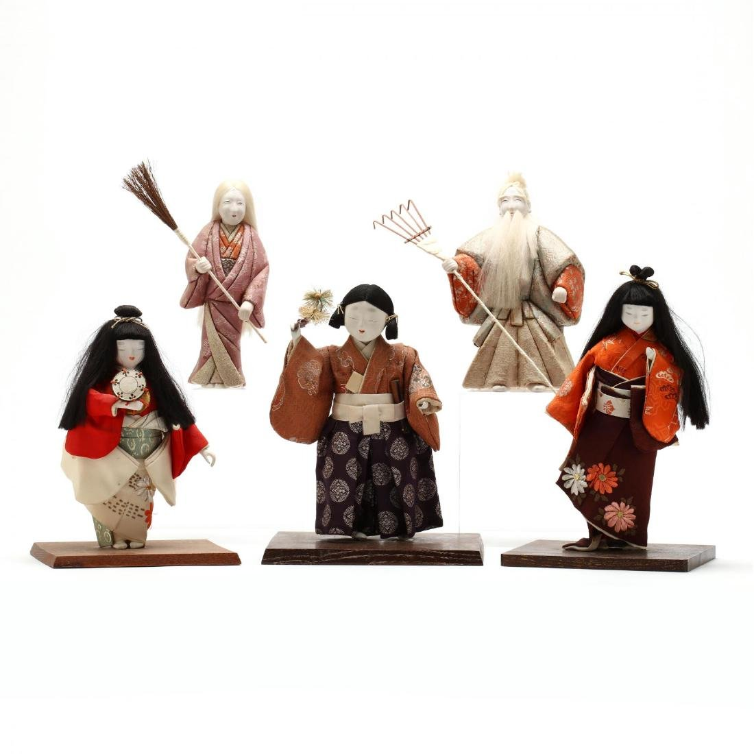 A Group of Five Japanese Dolls