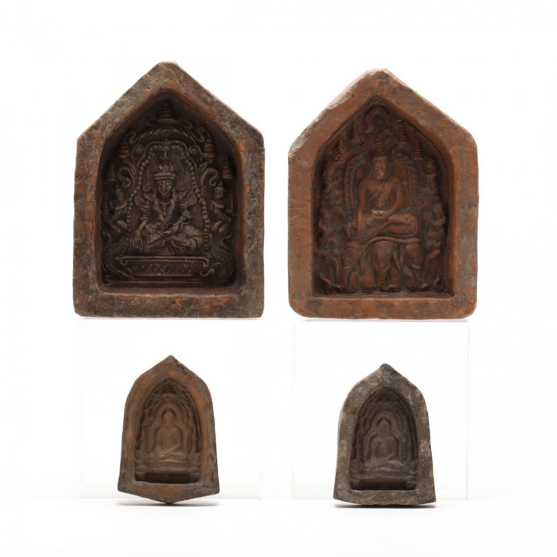Four Thai Stone Buddhist Votive Plaques