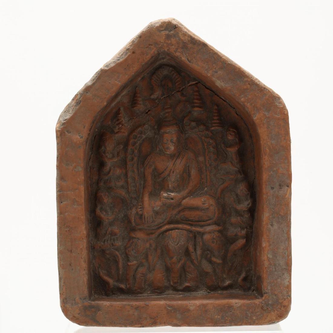 Four Thai Stone Buddhist Votive Plaques - 5