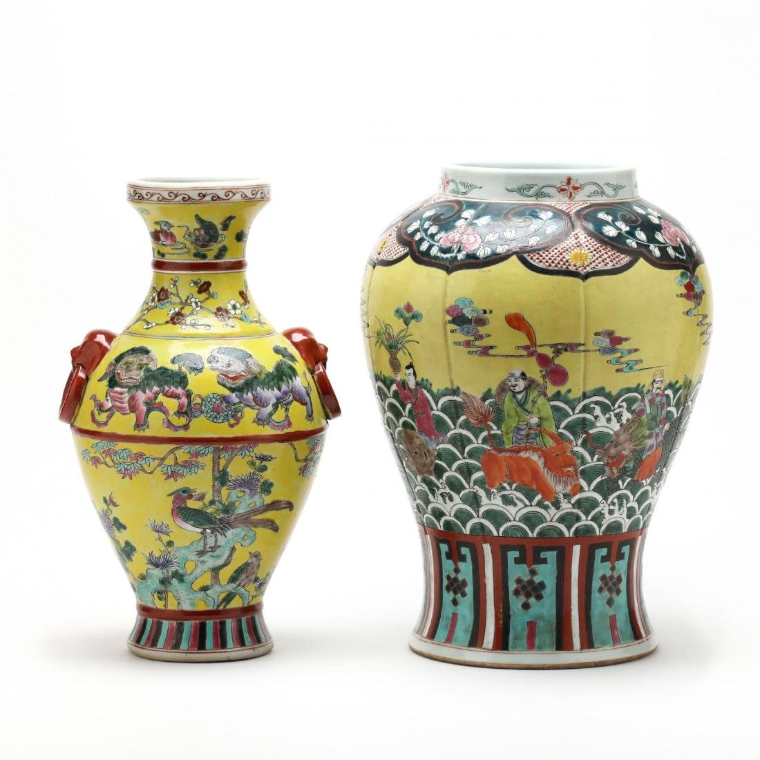 Two Chinese Yellow Vases