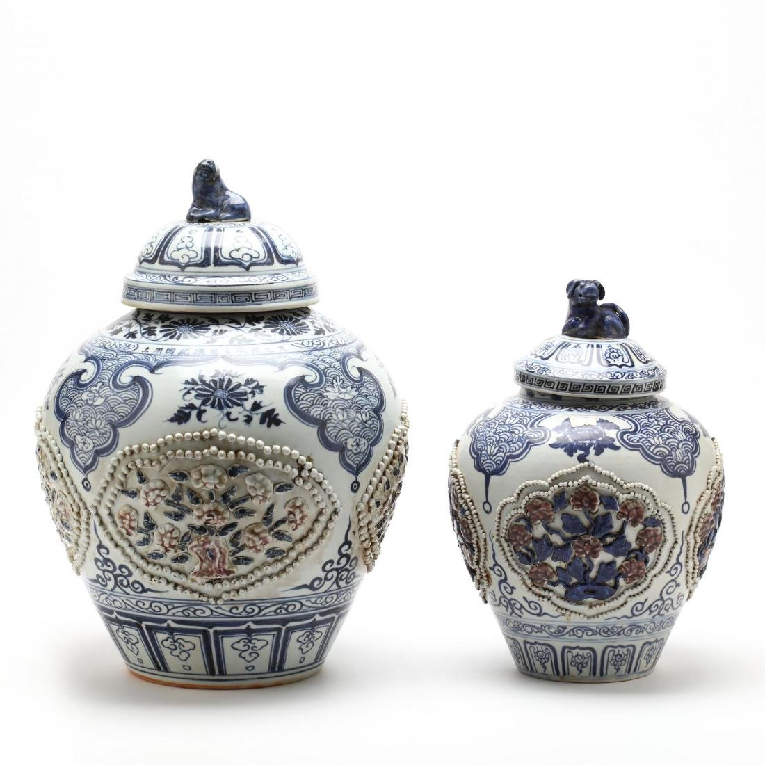 Two Chinese Blue and White Covered Jars