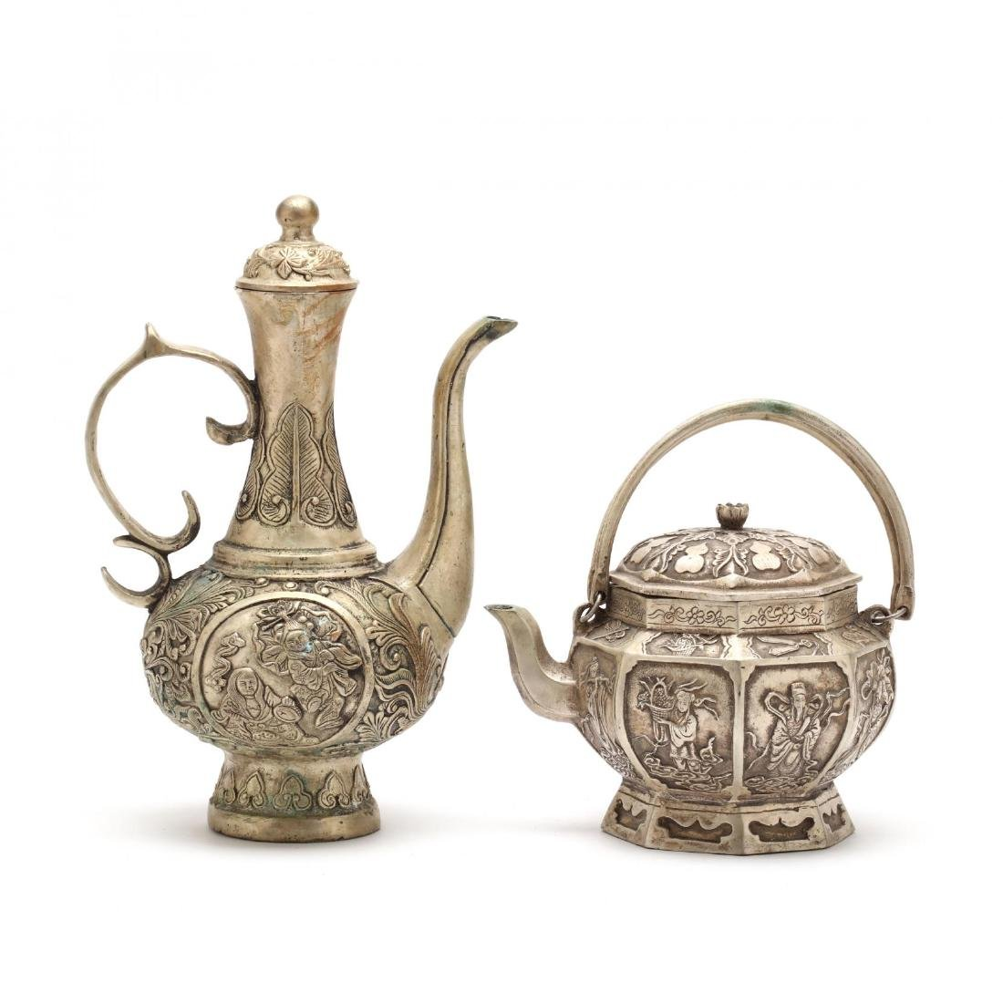 Two Chinese White Metal Wine Pots