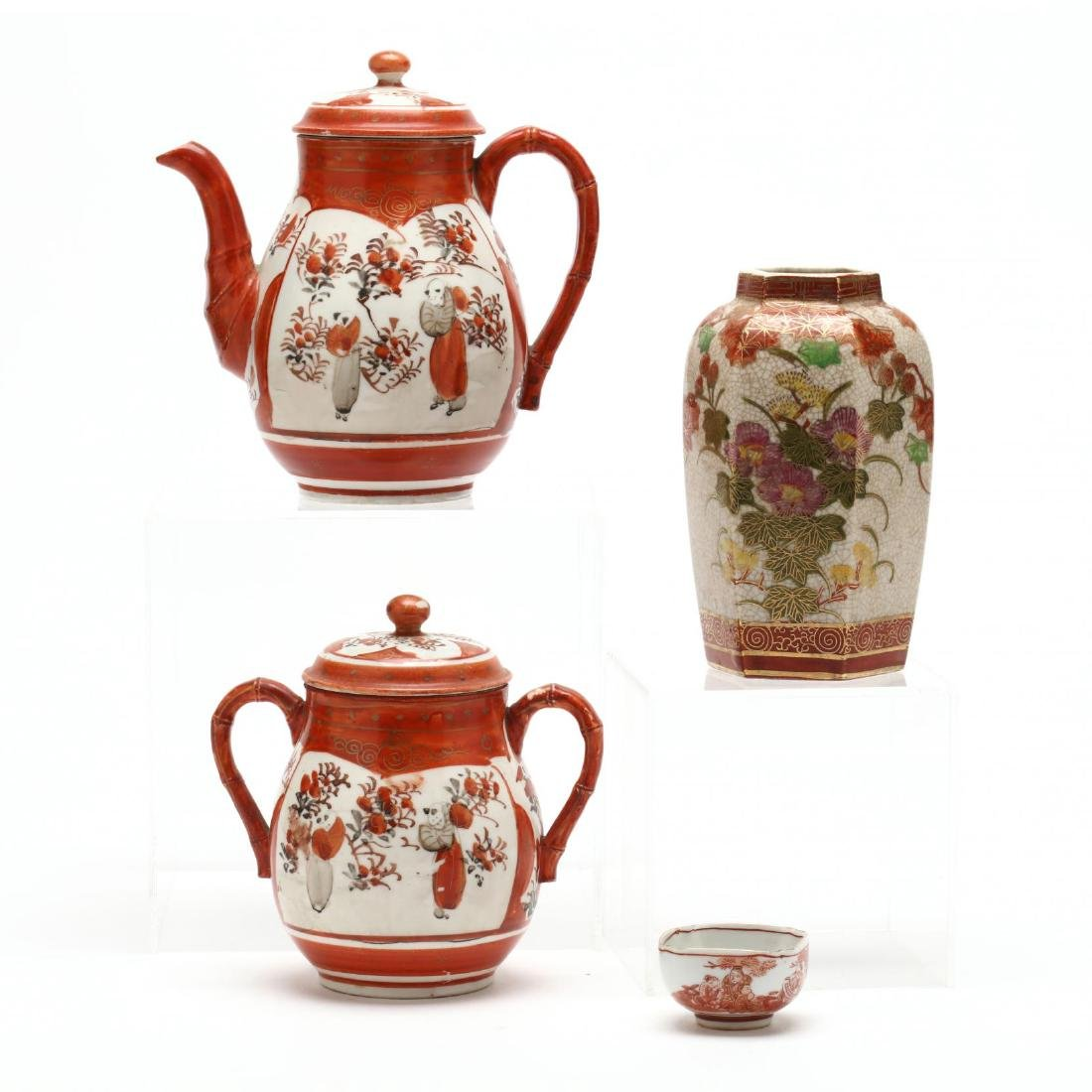A Group of Japanese Kutani Porcelain Items