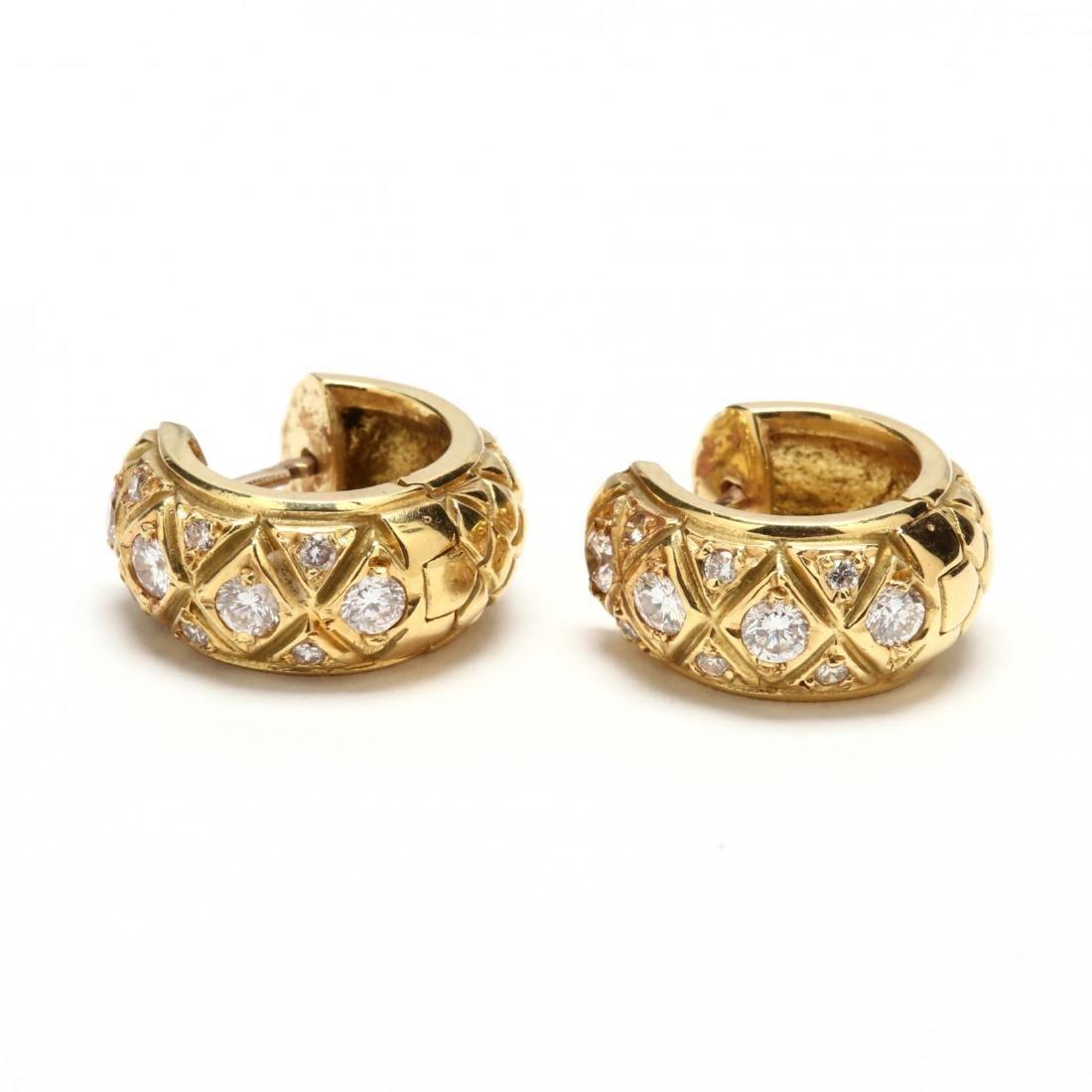 18KT Gold and Diamond Huggie Earrings