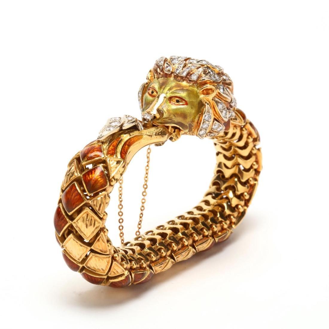 18KT Gold, Diamond, and Enamel Lion's Head Bracelet