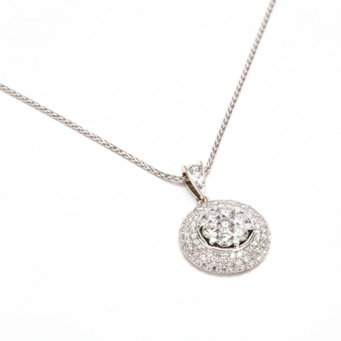 18KT White Gold and Diamond Cluster Pendant Necklace