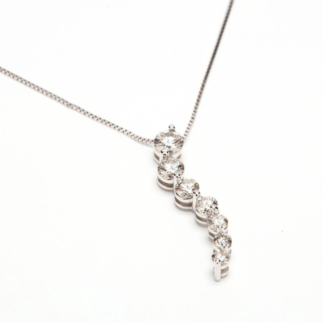 14KT White Gold and Diamond Journey Necklace
