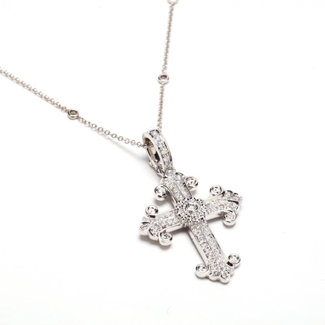 18KT Cross Pendant with 14KT Diamond Station Chain