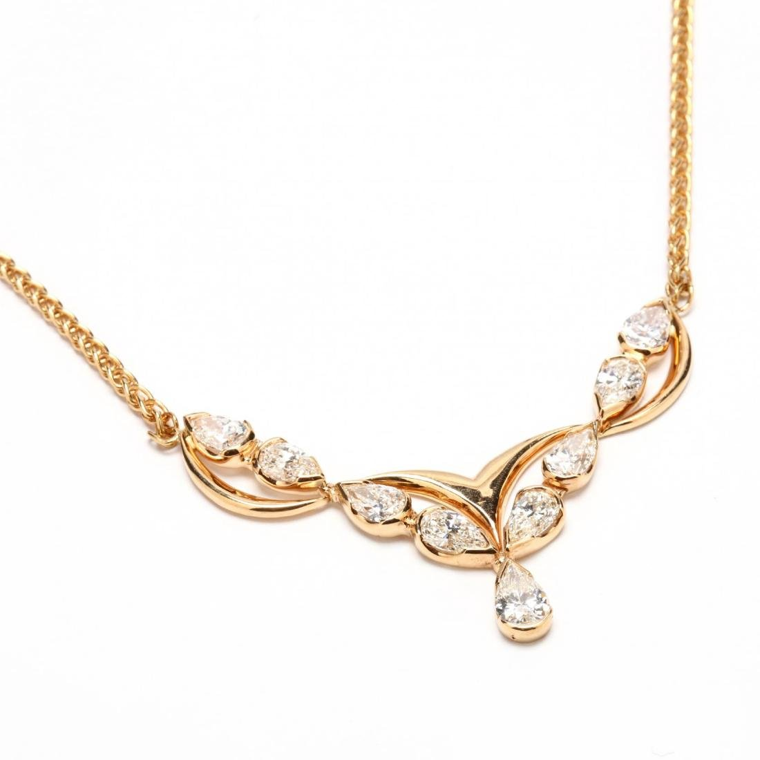 18KT Gold and Diamond Necklace, Italy