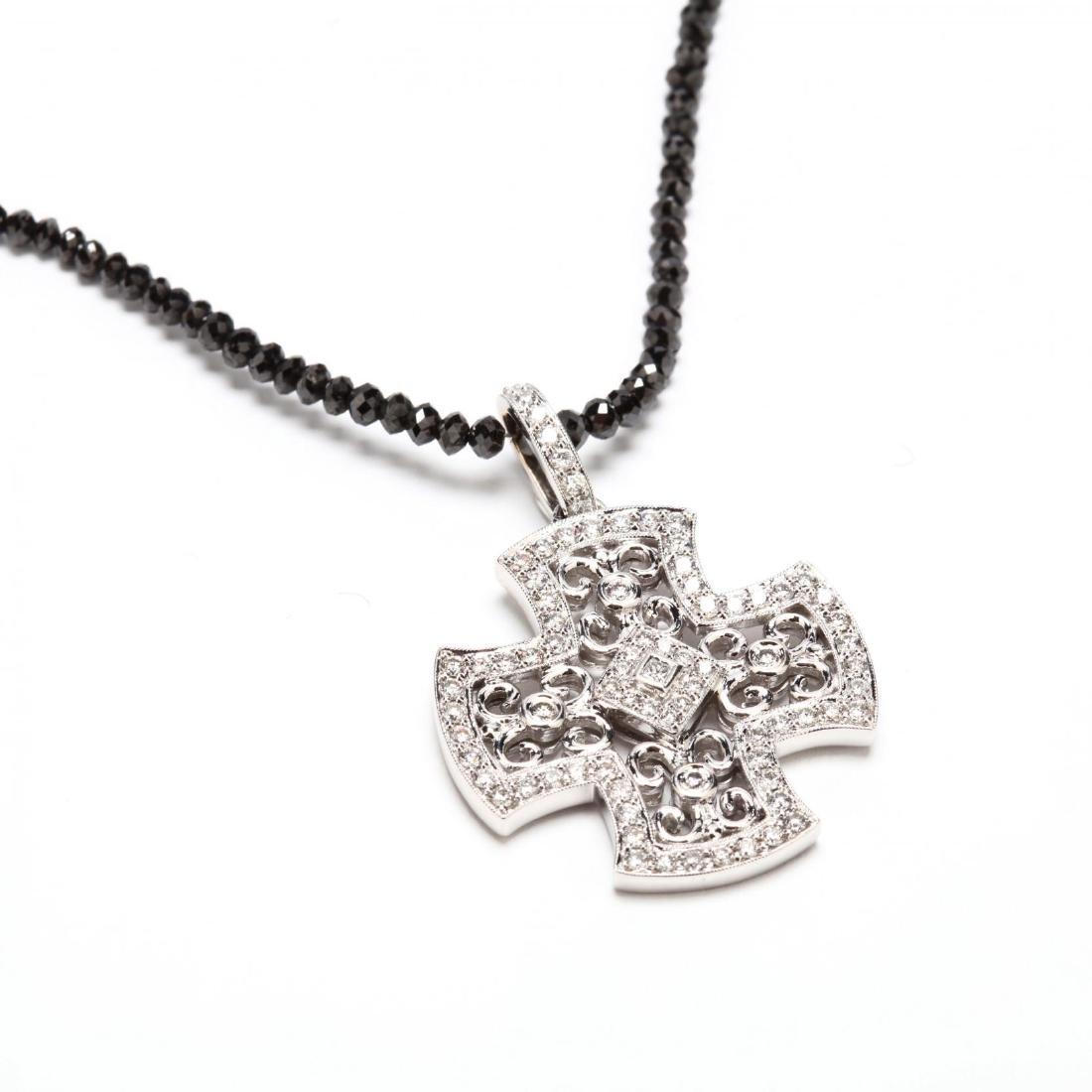 18KT Diamond Bead Necklace and Diamond Pendant