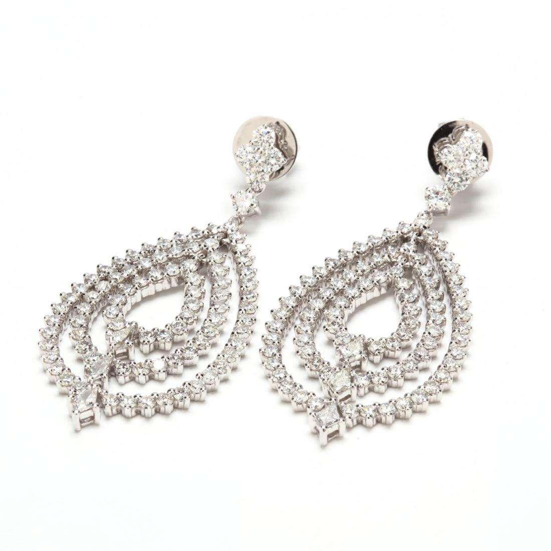 18KT White Gold Diamond Pendant Earrings