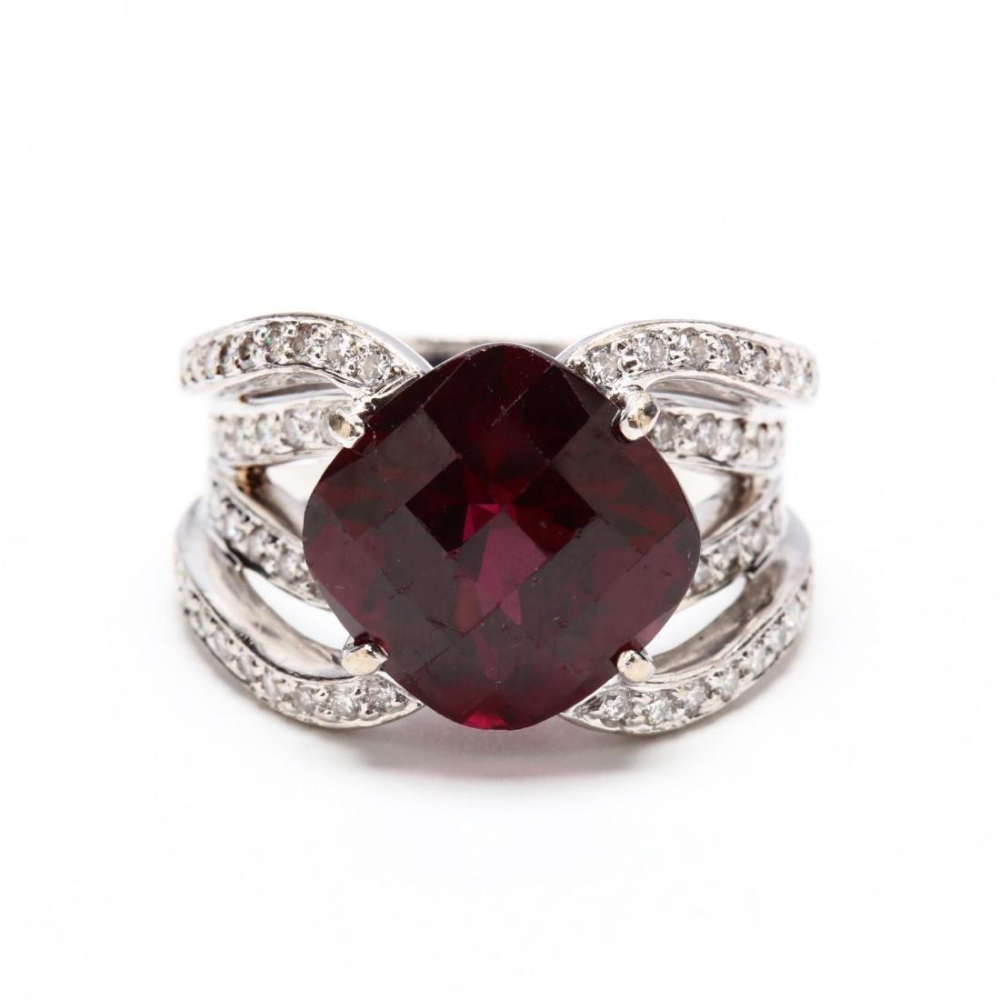 18KT White Gold, Garnet, and Diamond Ring