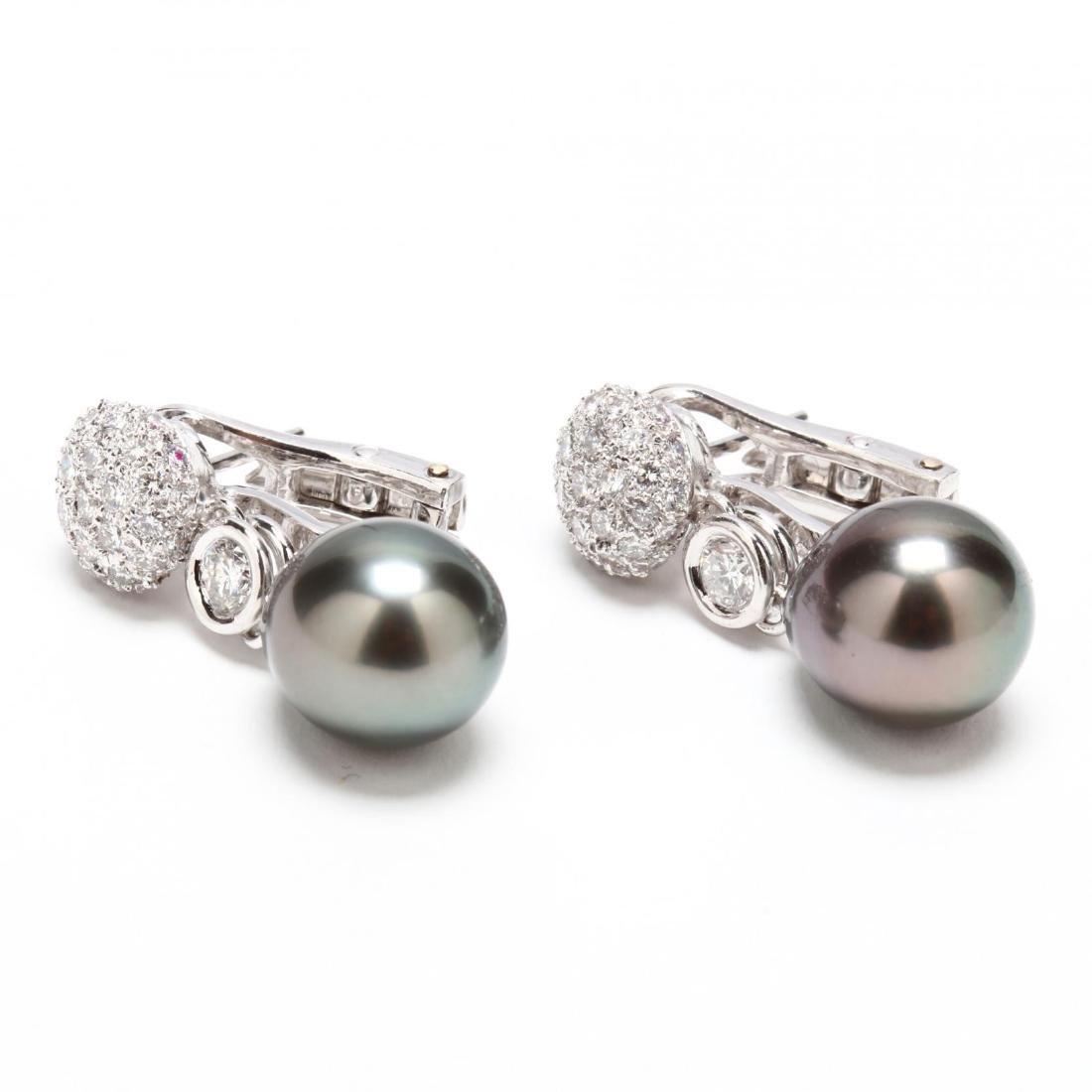 Platinum, Tahitian Pearl, and Diamond Earrings