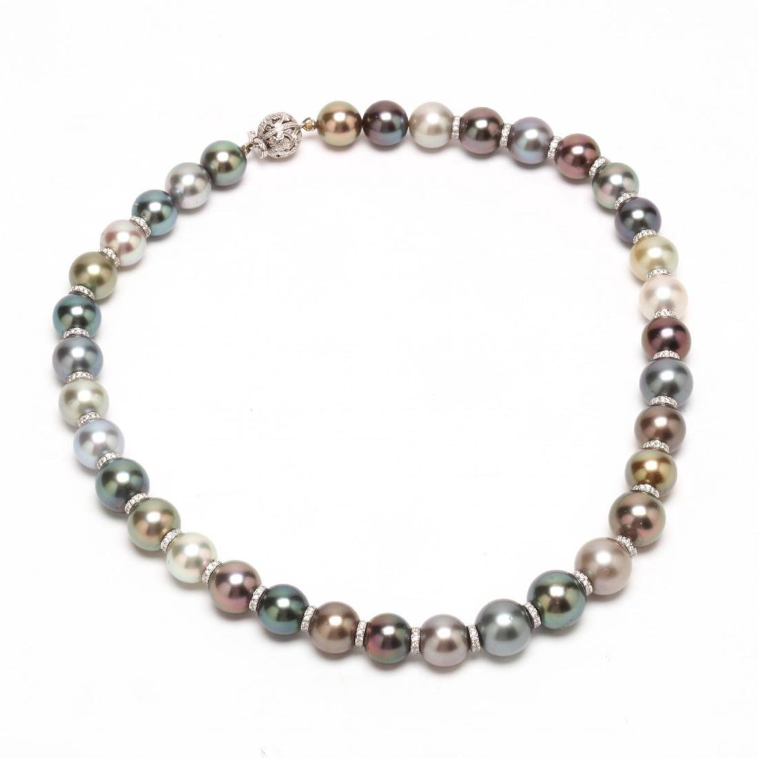 Platinum, Tahitian Natural Color Pearl, and Diamond