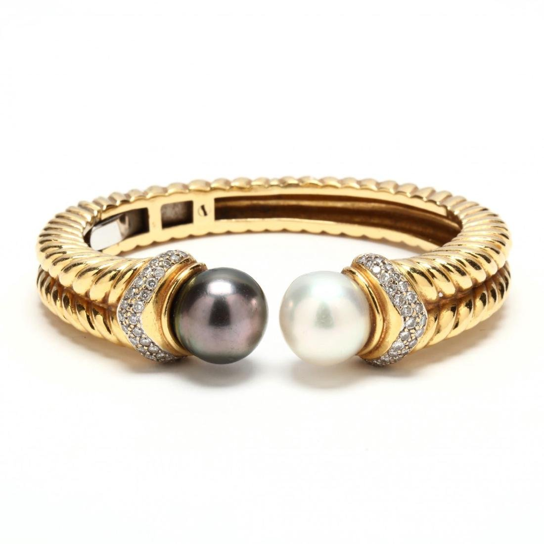 18KT Gold, Pearl, and Diamond Bracelet, Jye's