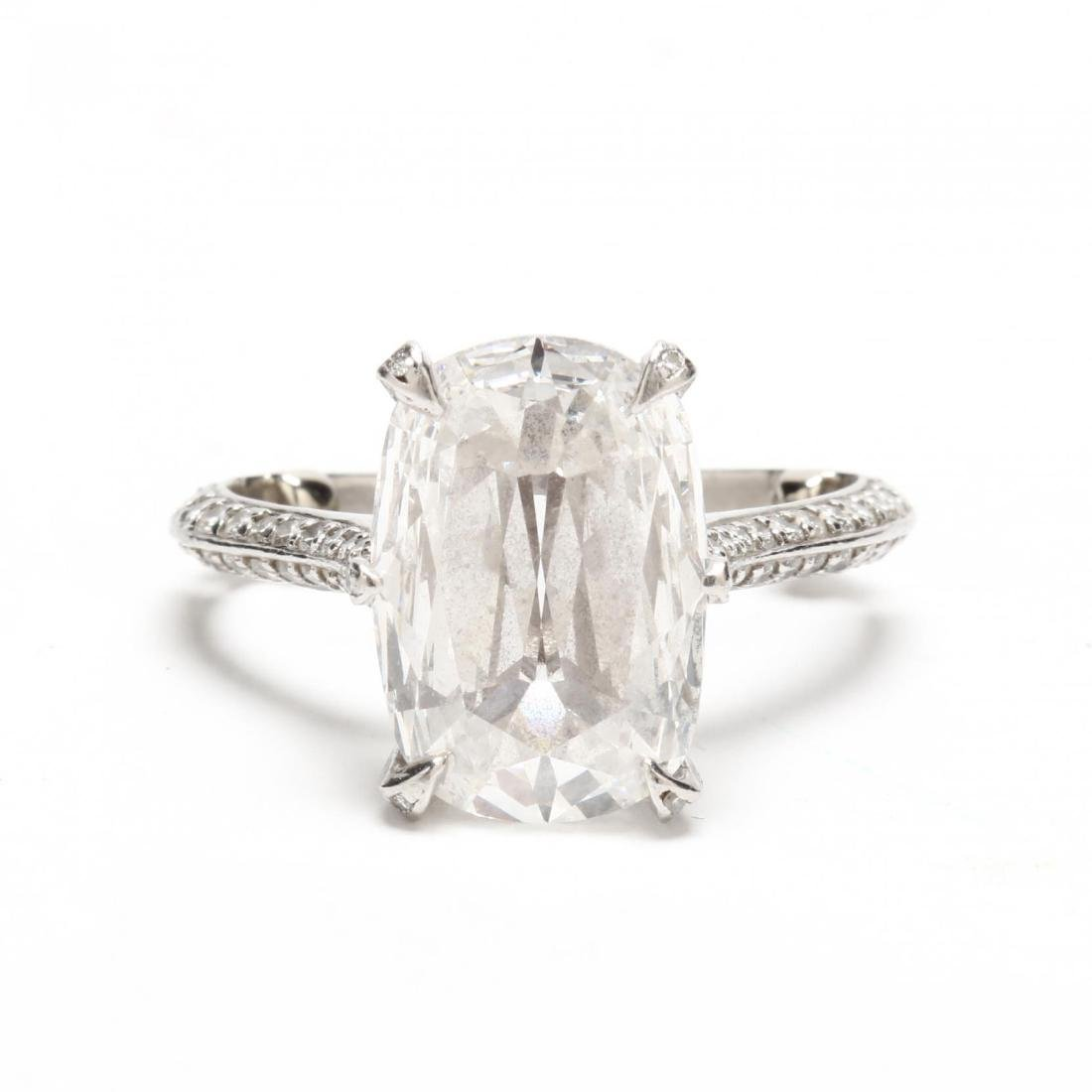 Unmounted 5.07 Carat Diamond and Platinum and Diamond