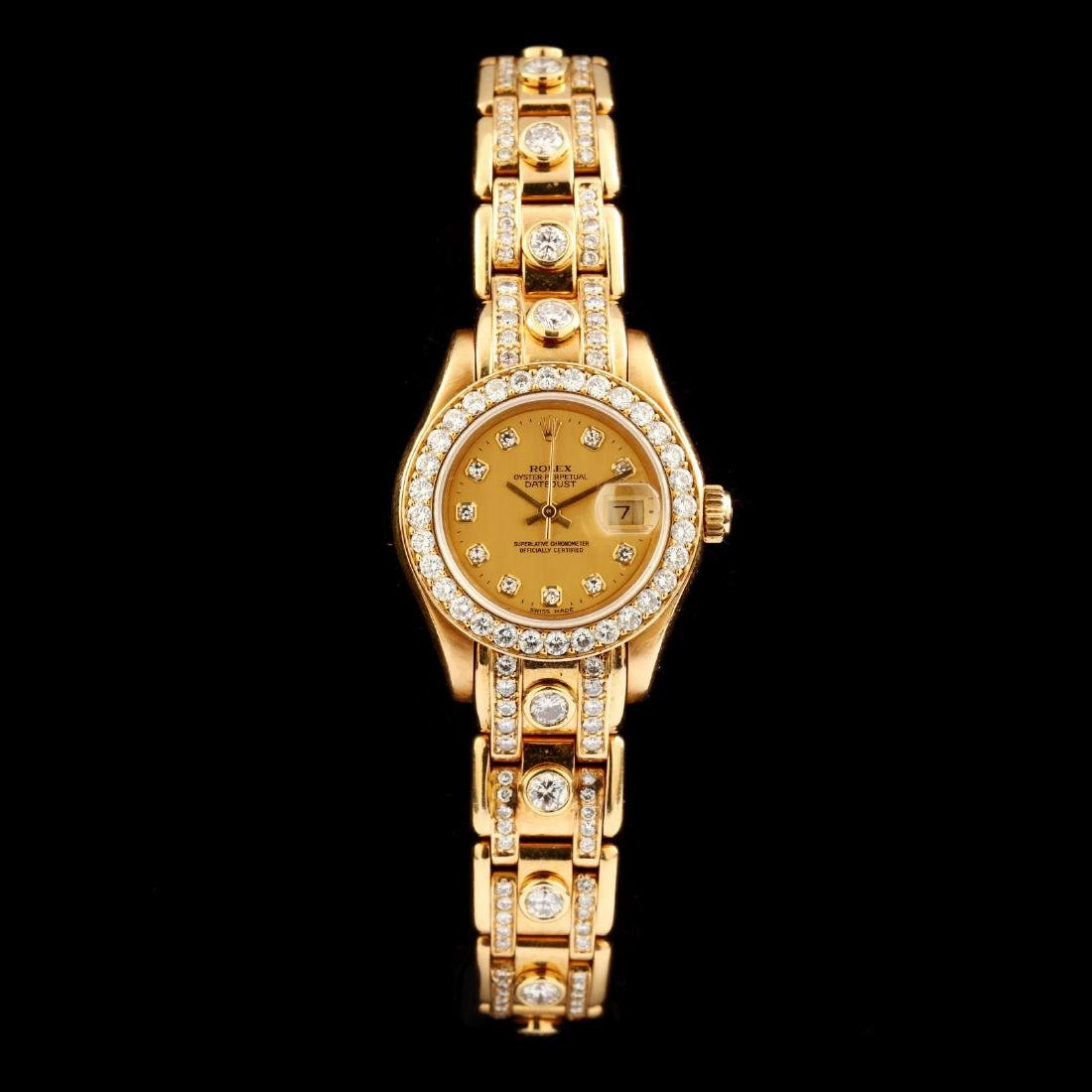"""Lady's 18KT Gold and Diamond """"Pearlmaster"""" Watch, Rolex"""