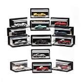 (13) Franklin Mint precision Model Cars in Display