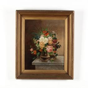Victorian Oil Painting Of A Still Life With Flowers And