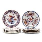 Two Sets of English Imari Plates
