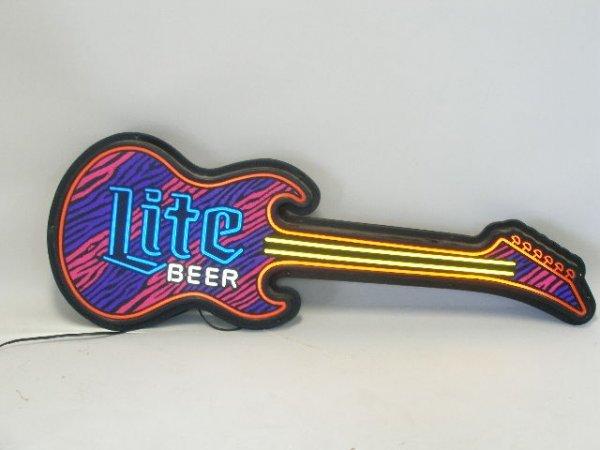 2111: Miller Lite Beer Guitar Form Beer Sign,