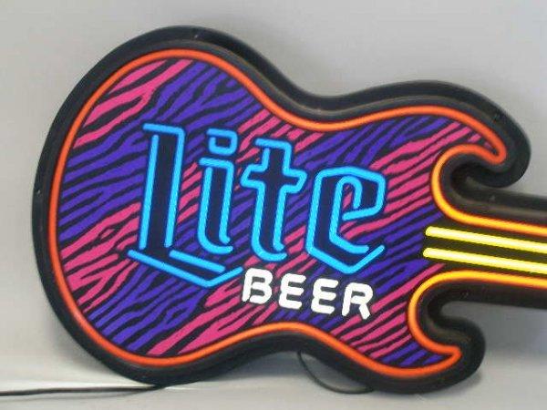 2111: Miller Lite Beer Guitar Form Beer Sign, - 3