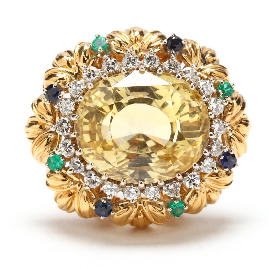 18KT Gold, Ceylon Yellow Sapphire, Diamond, Emerald,