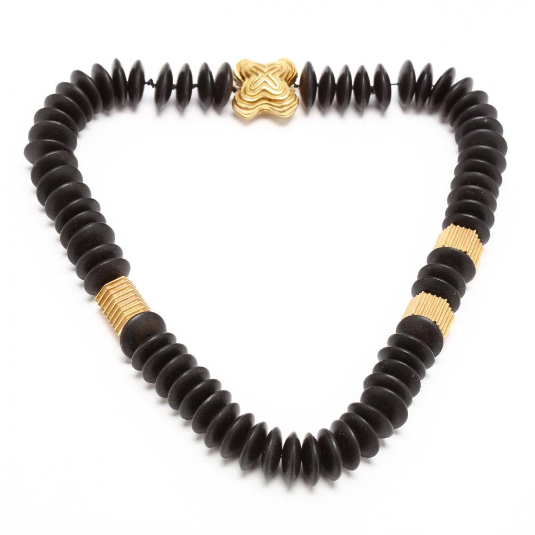 18KT Gold and Ebony Necklace, Christopher Walling
