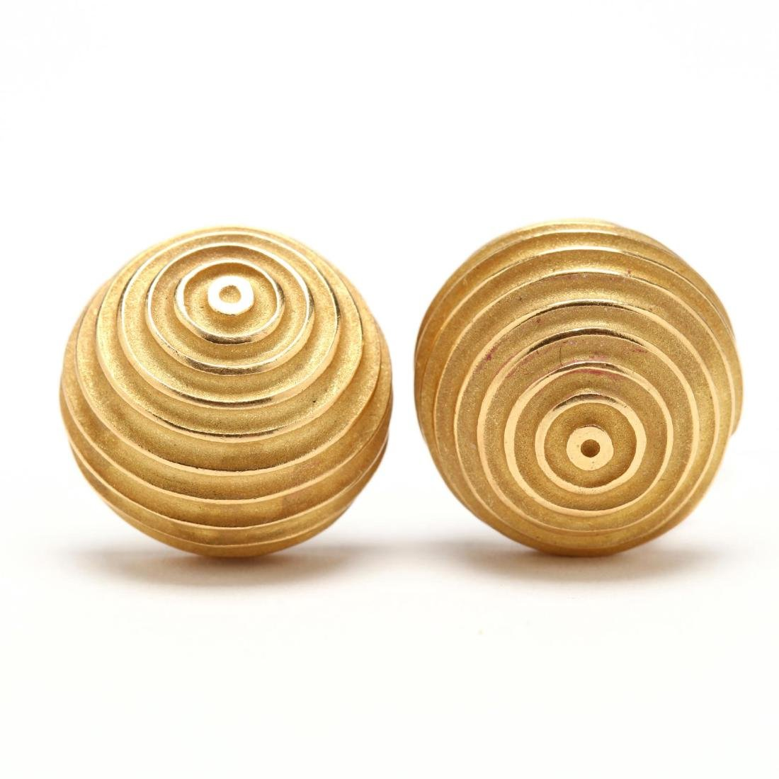 """18KT Gold """"Ridged Dome"""" Earrings, Christopher Walling"""